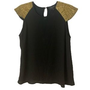 Romeo+Juliet Couture Gold Jewelled Black Top